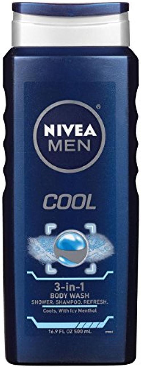 アジア人ドレイン吸うNivea, 3-in-1 Body Wash, Men, Cool, 16.9 fl oz (500 ml)