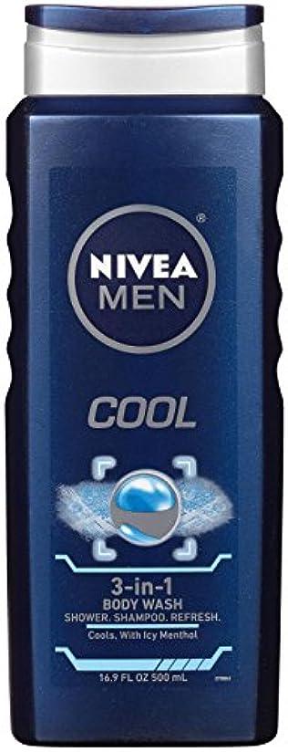 ツーリスト器用ありがたいNivea, 3-in-1 Body Wash, Men, Cool, 16.9 fl oz (500 ml)