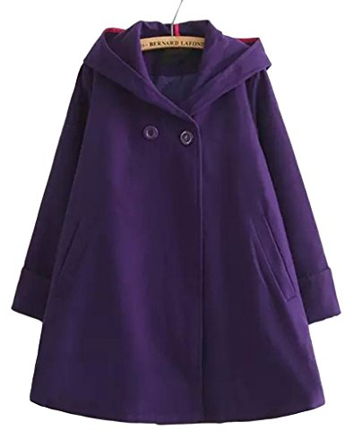 (アッシュランゲル)ASHERANGELレディース フード付 森ガールポンチョコート 紫
