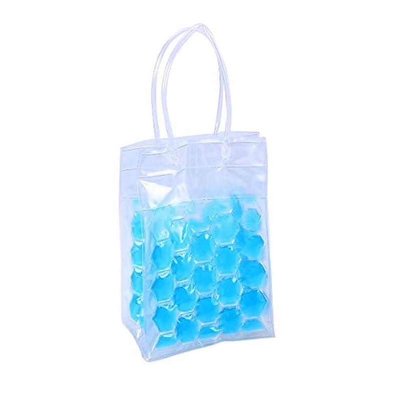 輝くきらめく追記BESTONZON PVCワインボトルアイスバッグラピッドクーラークール缶冷却4サイドジェルホルダーギフトパーティー(ブルー)750ミリリットル2ボトル