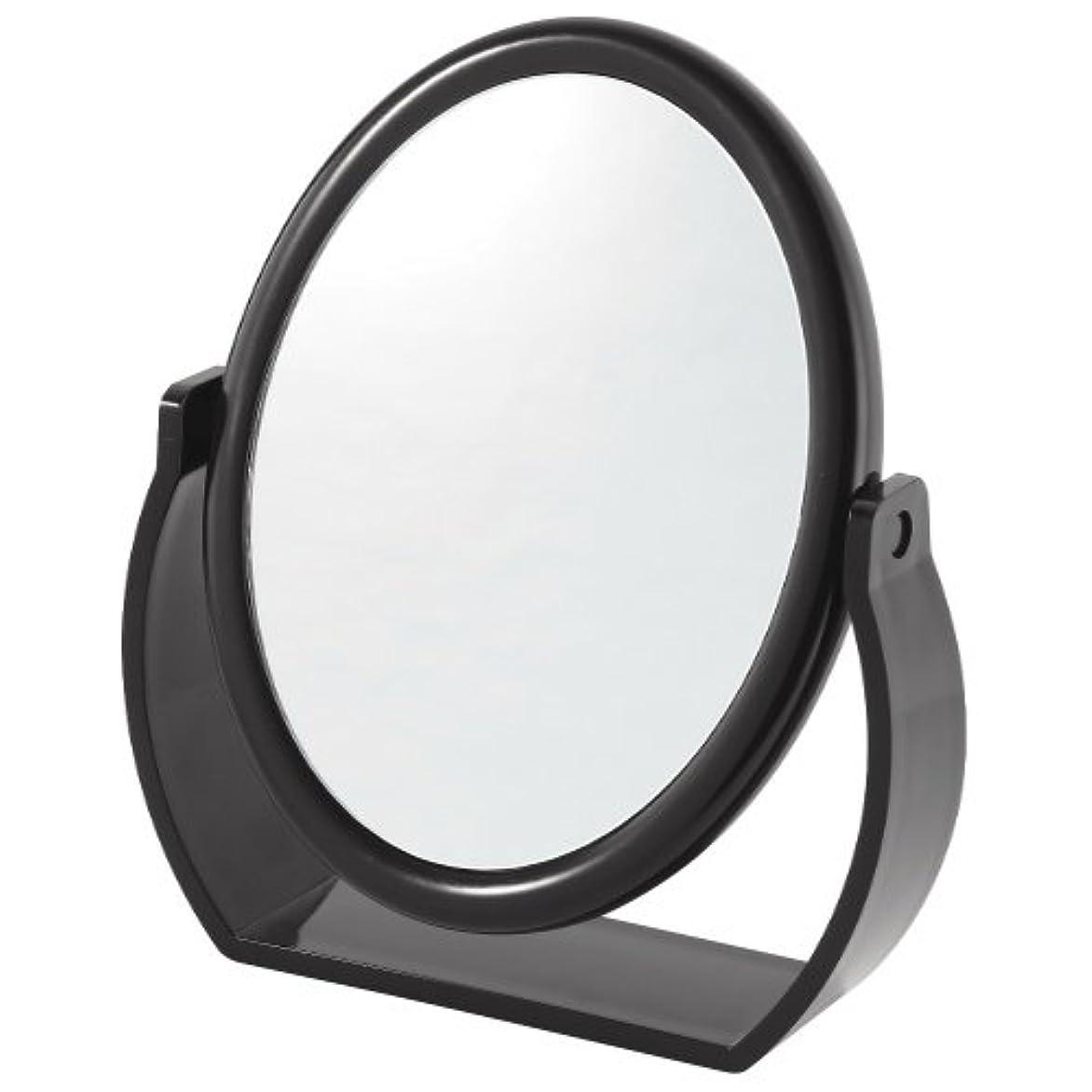 あいまいワゴン壮大な拡大鏡付スタンドミラー(約5倍)黒