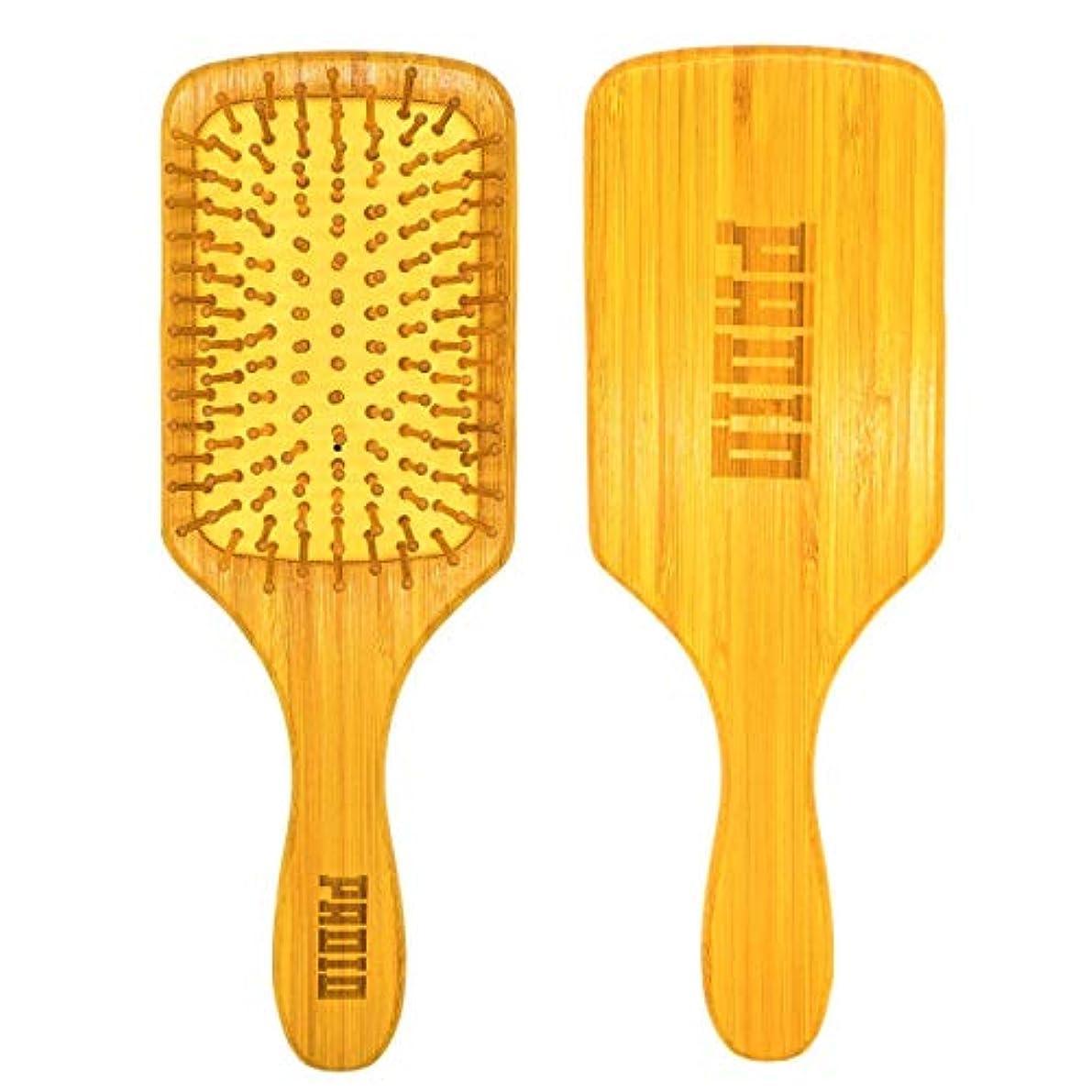 六月廊下引退したPADI0 頭皮マッサージ ヘアブラシ 薄毛予防 艶髪 竹製大 【育毛専用】