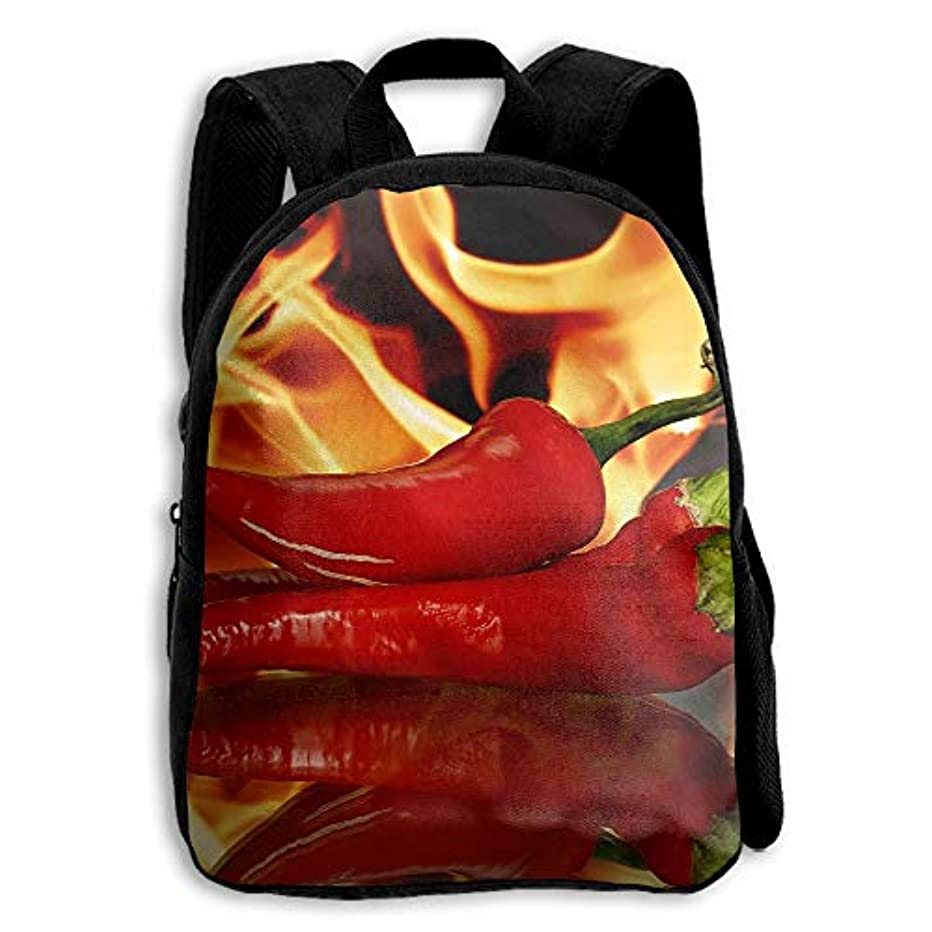 モチーフ魔術師再撮りFIDALJF Fire Chili Pepper 子供用バックパック リトルキッズ スクールバッグ 調節可能なショルダー付き 人間工学に基づいたバックパッド 学校/セキュリティ/スポーツイベントに最適