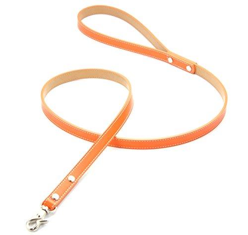 犬 リード 本革製(レザー) 小型犬 中型犬 オレンジ・赤・青・黄の4色 お揃いの首輪もございます カラー:オレンジ