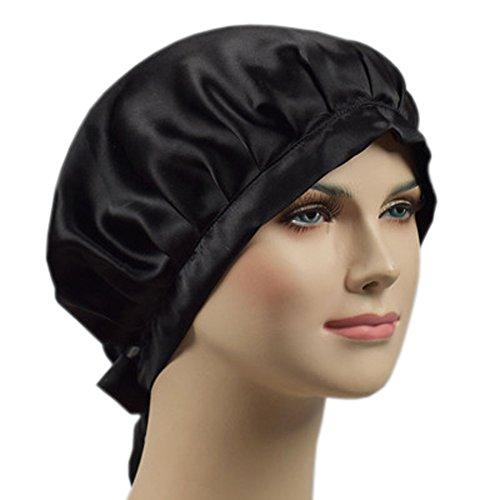EZOM シルクナイトキャップ 癖毛対策 切れ毛予防 保湿 お休みキャップ ヘアーキャップ 天然シルク100% リボン付き サイズ調整可 (ブラック)
