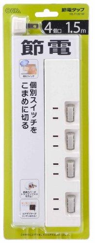 OHM 節電タップ 4個口 1.5m EDLP (00-1391)
