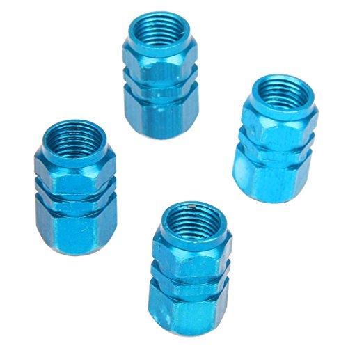 [해외]SODIAL (R) 4 X 타이어 휠 시스템 에어 밸브 캡 타이어 커버 자동차 트럭 오토바이 블루 알루미늄/SODIAL (R) 4 X Tire Wheel Rim Stem Air Valve Cap Tire Cover Car Truck Bike Blue Aluminum
