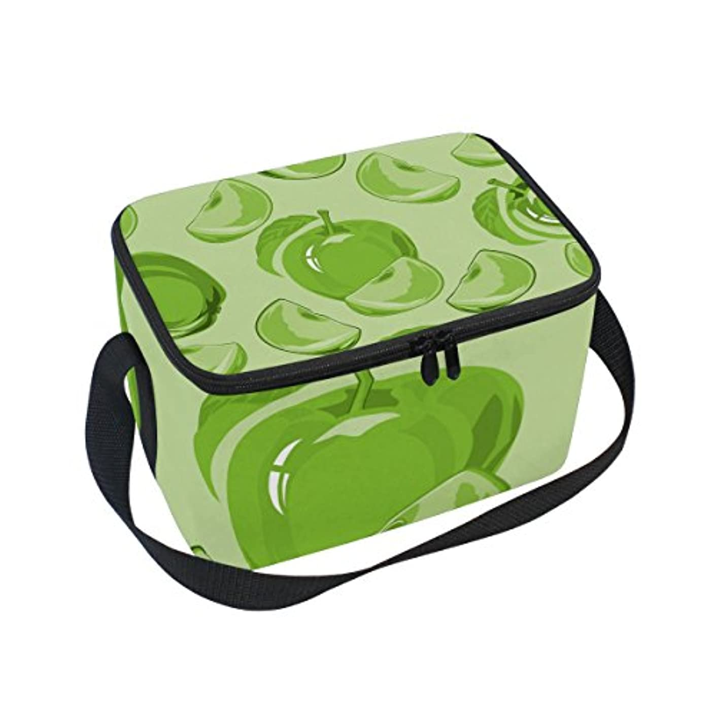 乳白色ピア石クーラーバッグ クーラーボックス ソフトクーラ 冷蔵ボックス キャンプ用品 アップル柄 緑 保冷保温 大容量 肩掛け お花見 アウトドア