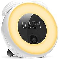 【光+音!目覚まし時計】HomySnug 1~100%輝度調節可能 人体感知&振動感知センサー 168時間連続点灯可能 スヌーズ機能・アラーム切り替え機能付き usb充電 部屋/寝室/オフィス/台所用 ホワイト 一年保証が付き