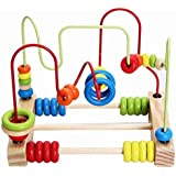 Counting Circles Bead Abacus Wire Maze Wooden Roller Coaster Educational Toys for Baby Kids Children Kakiyi