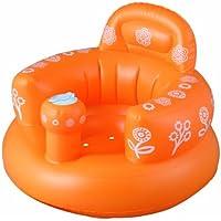 首がすわってから使えるバスチェア バスソファ ポンプアップ ヘッドレスト付き オレンジ