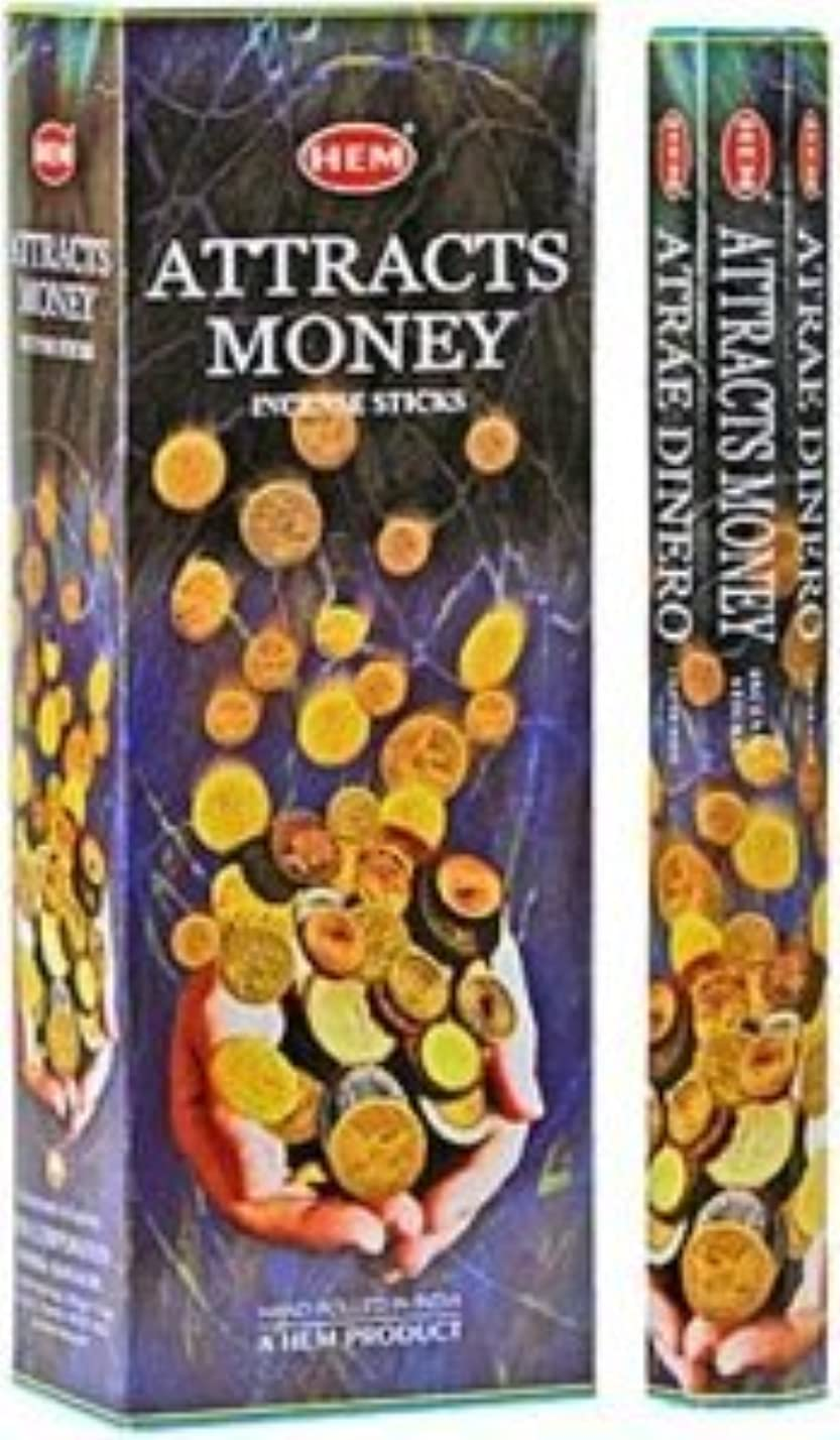 病な寸前チーフHem Attracts Money – Atrae Dinero – Incense Sticks – 4六角チューブ(80 Sticks)