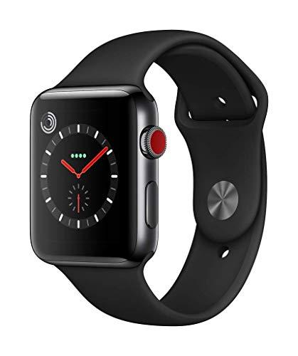 Apple Watch Series 3(GPS + Cellularモデル)- 42mmスペースブラックステンレススチールケースとブラックスポーツバンド