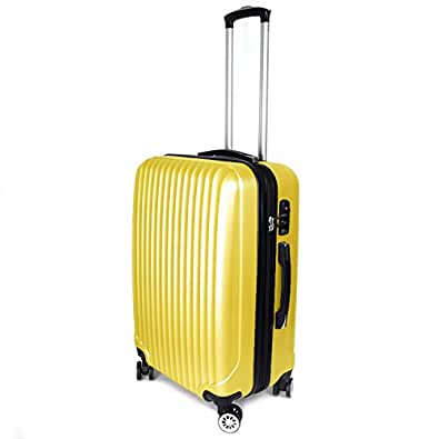 【神戸リベラル】 LIBERAL 軽量 拡張ファスナー付き S,M,Lサイズ スーツケース キャリーバッグ 8輪キャスター TSAロック付き (Sサイズ(1-3泊用 40/50L), イエロー)