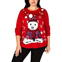 Karen Scott Plus Size Patchwork Bear Sweater