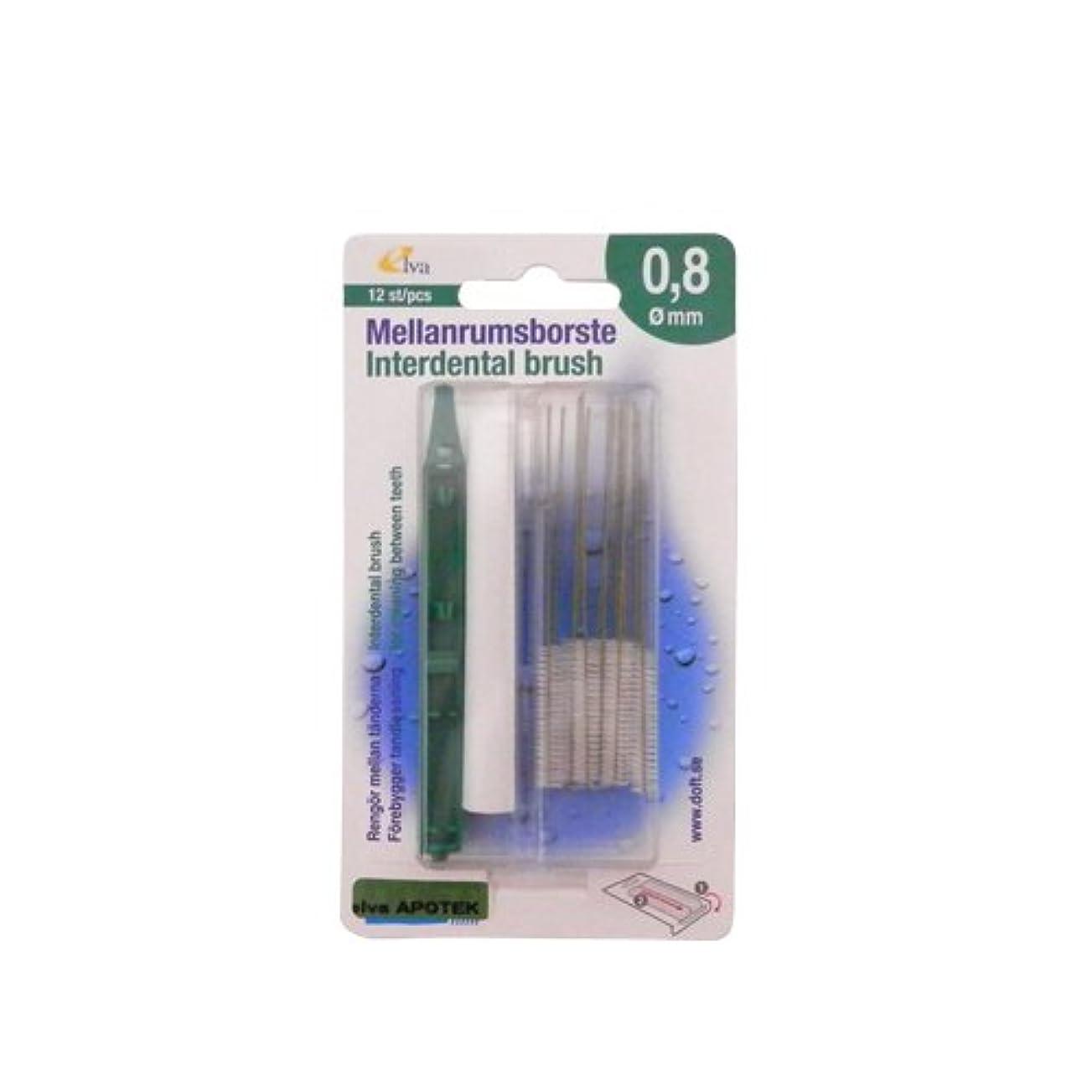 にもかかわらず統合無力エルバ アポテック 歯間ブラシ ELVA APOTEK 12本入 グリーン 0.8mm