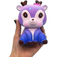 Reyo Mochi Squishy Toys 1 centアイテムKawaii Galaxy Cute Deerクリーム香りつきSquishyテンションStress Relief AnxietyレジューサSensory再生Slow Rising手手首Dolls 14cmX11.3cmX9.7cm REYO