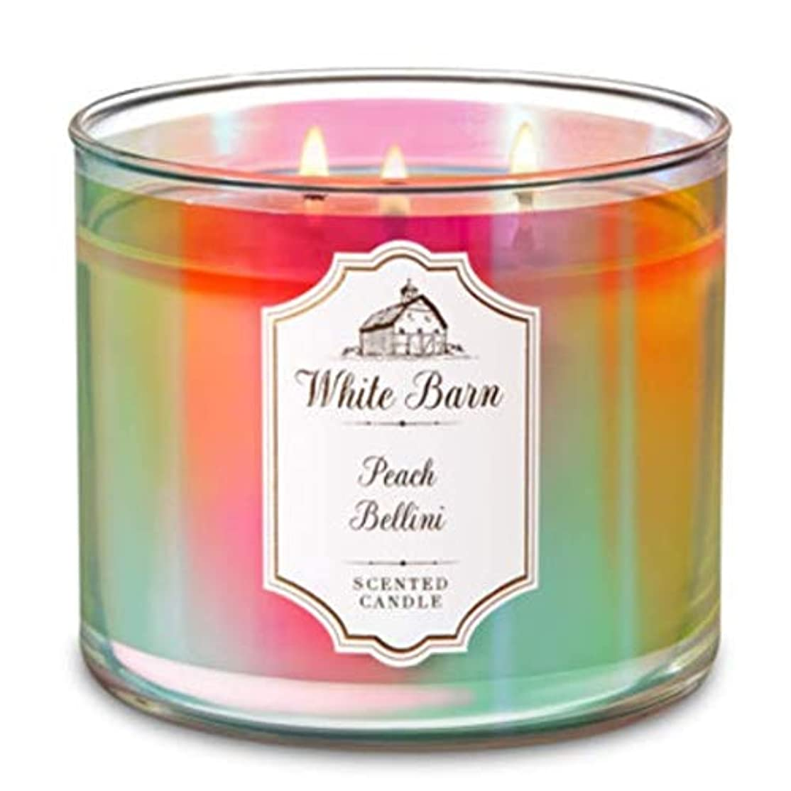 検体証明吸収Bath and Body Worksホワイトバーン3 Wick Scented Candle Peach Bellini 14.5オンス