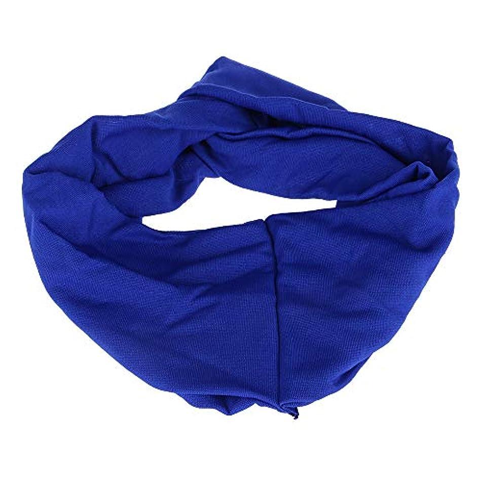 選挙安全性変数女子 ヘアリボン ワイドヘッドバンド キャンディーカラー ポリ+コットンブレンド スポーツ ブルー