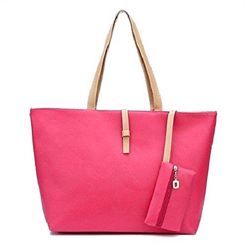 [Choice] トートバッグ ハンドバッグ PUレザー 柔らかめ 折りたたみ 大容量 軽量 防水 撥水 (ピンク)