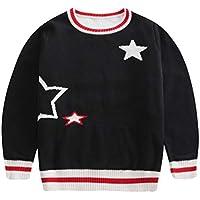 Children Pullover Sweaters Kids Star Black Cardigan Boys Knitted Tops Girls Knit Sweater Dress