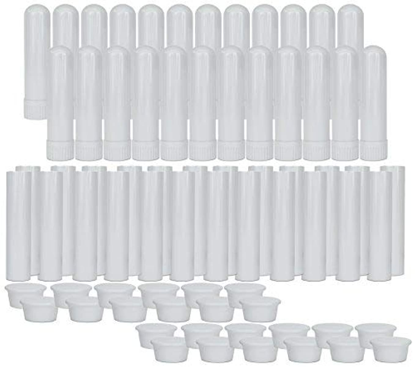 砲撃貞羽Essential Oil Aromatherapy Blank Nasal Inhaler Tubes (24 Complete Sticks), Empty Nasal Inhalers for Essential...