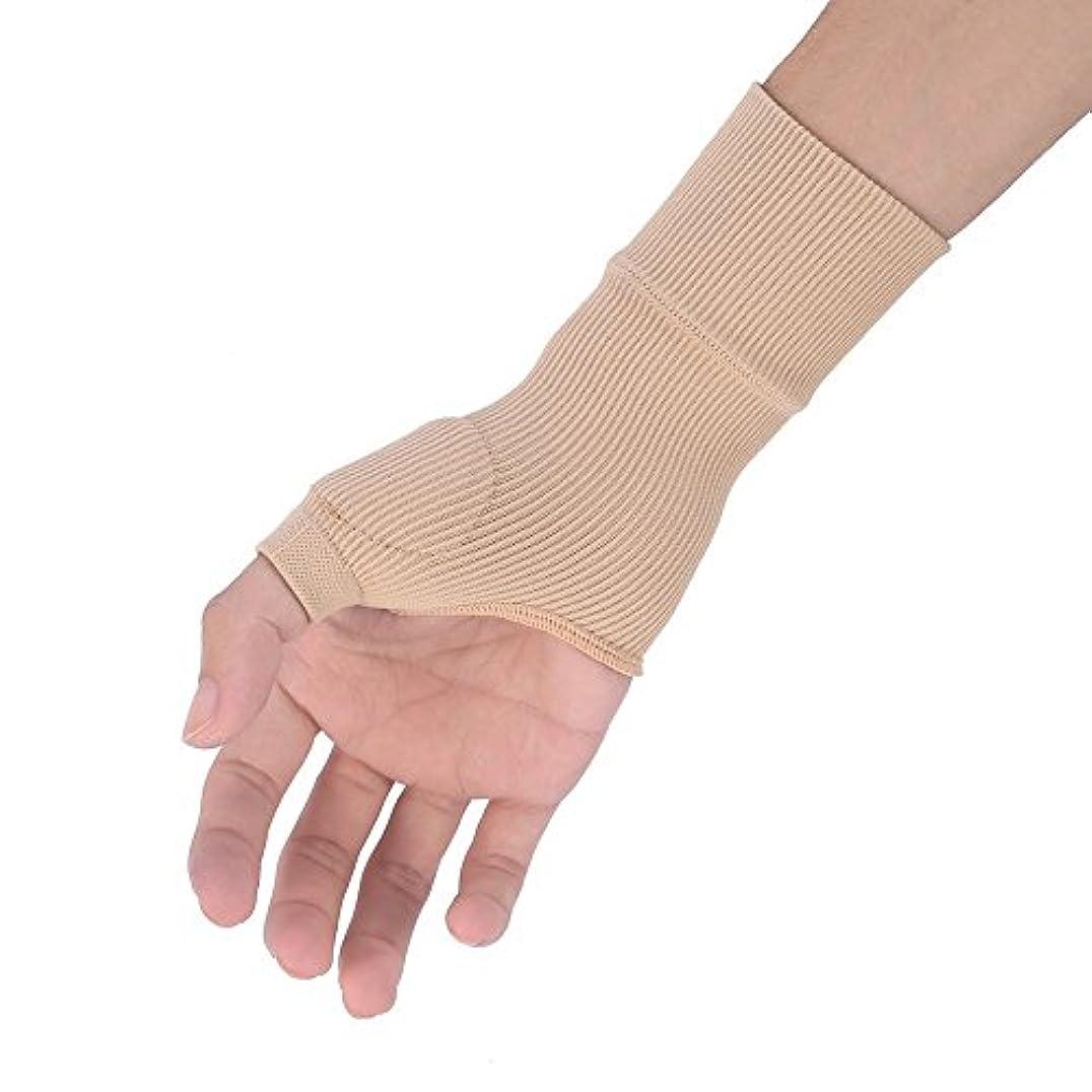 バイパスディスパッチ積極的に(2個入)親指サポーター ばね指 腱鞘炎 怪我防止 手のひら用 手首の痛みを軽減 ジェル 伸縮性 保温効果 使いやすい フリーサイズ ベージュ