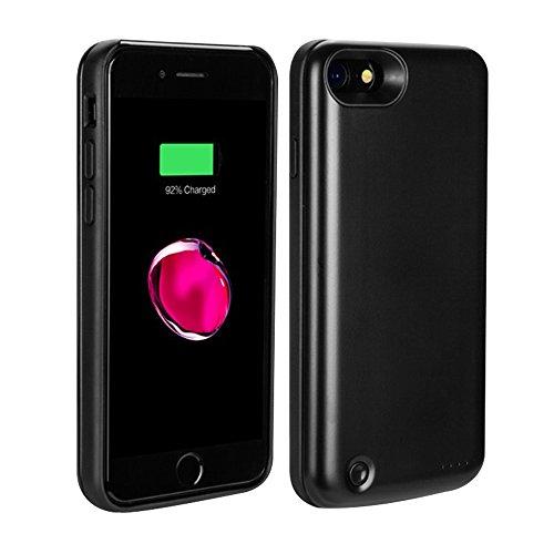 PZX 3800mAh 超大容量 軽量 バッテリー内蔵ケース iPhone7 充電操作可能 バッテリーケース 急速充電 ケース型バッテリー iPhone7, ブラック