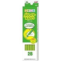 鉛筆名入れ 三菱鉛筆 グリッパー鉛筆6903 ST 緑 2B 12本セットと名入れ加工(インクジェット・黒) かきかたえんぴつ6角軸 182B