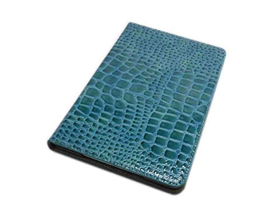 抽象擬人想像するiPad Mini 5 iPad Mini 4 兼用 手帳型 フリップ 横開き PU クロコ柄 鰐柄 わに柄 型押しカード入れ スタンド ケース カバー ライトブルー
