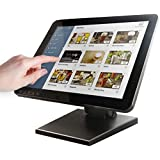 15-Inch Capacitive LED Backlit Multi-Touch Monitor, True Flat Seamless Design Touchscreen with Metal POS Stand, for Office, P