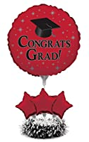 (Classic Red) - Creative Converting Air-Filled Balloon Centrepiece Kit Graduation, Classic Red