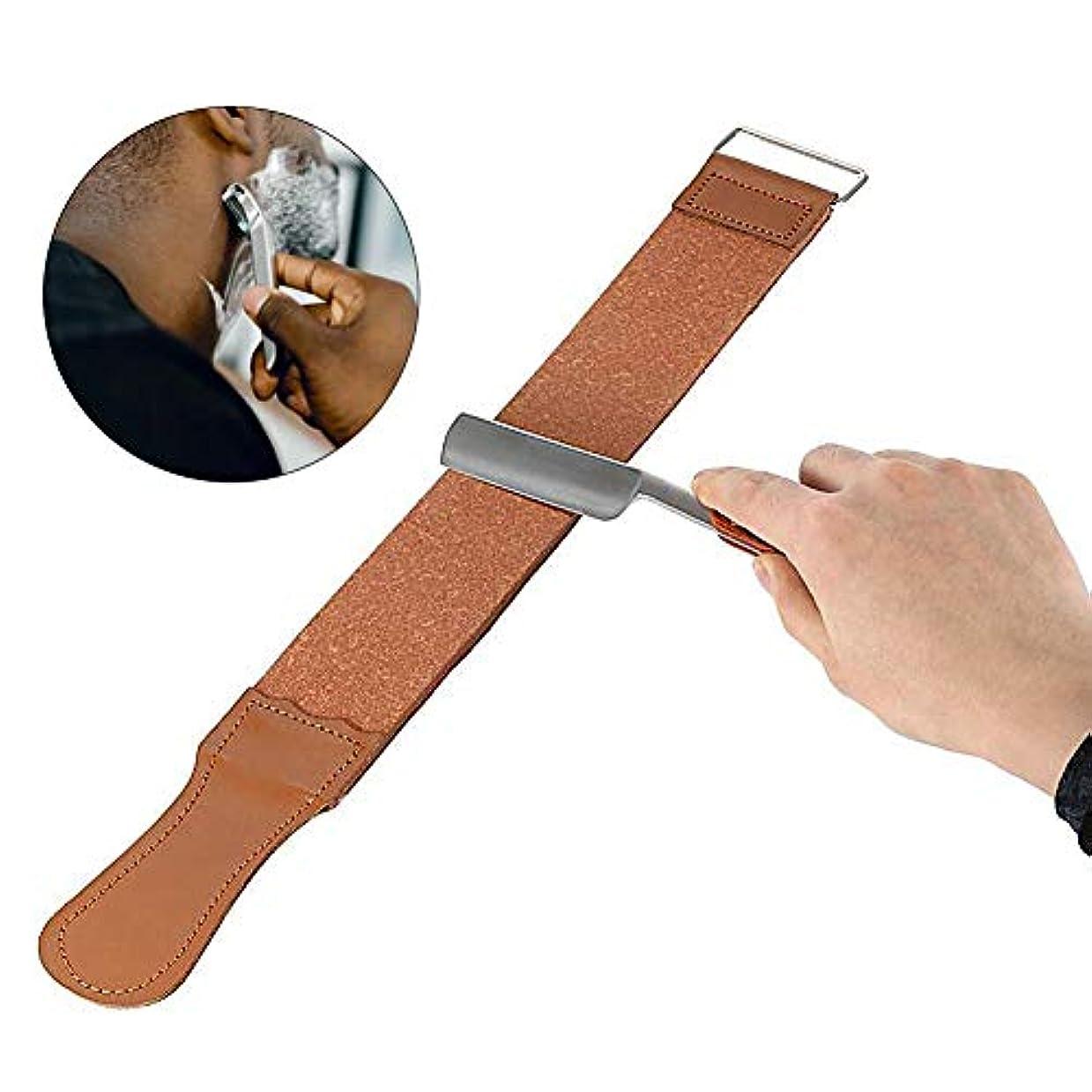 縮約喪トライアスリート革布かみそりストラップ、二重層革研削布スクレーパー男性シェービングツール 耐久性