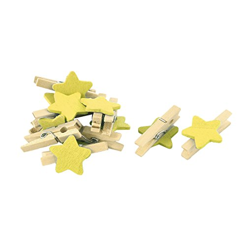 uxcell ミニ木製クリップ 写真用ペグ 写真クリップ カードクリップ 洗濯バサミ 工芸品 スター型 クラフト用品 10個入り