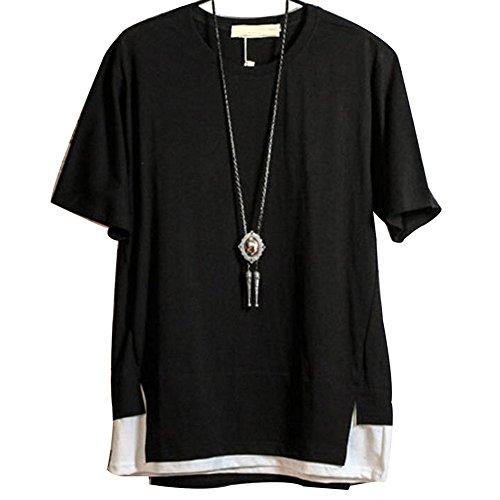 (オリマート)ORI-MART 半袖 カットソー 重ね着風 裾切り替え Tシャツ バイカラー 夏 ストレッチ ストリート カジュアル シャツ デザイン メンズ (XL(日本サイズL相当), ブラック)