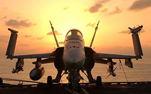 絵画風 壁紙ポスター (はがせるシール式) 戦闘機 F/A-18E スーパーホーネット USS 空母 ジョンCステニス ミリタリー キャラクロ UAFT-011W1 (ワイド版 921mm×576mm) 建築用壁紙+耐候性塗料