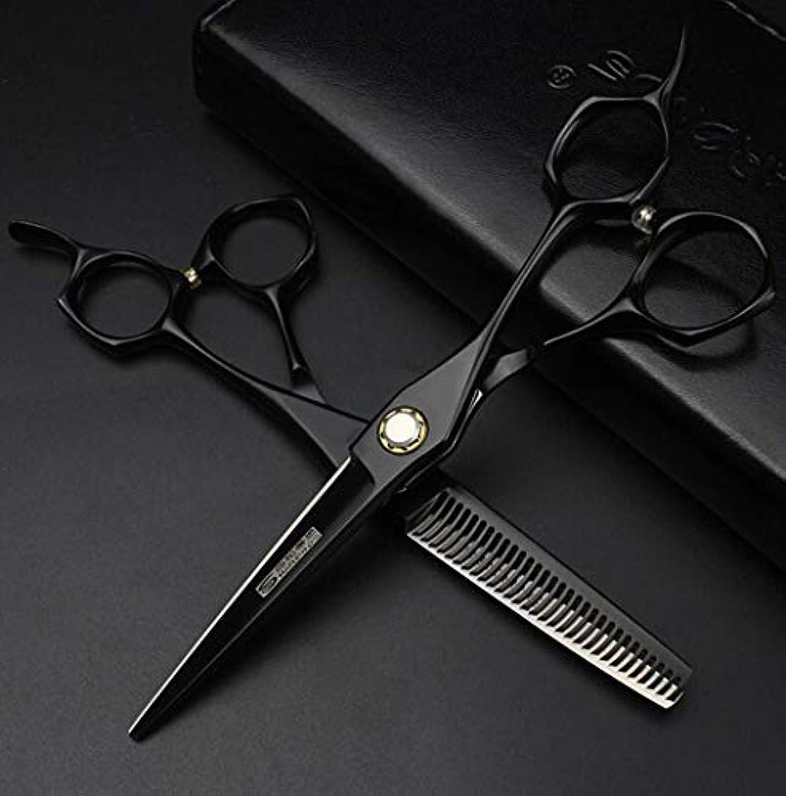 罰するミンチパンフレット6.0インチプロフェッショナル理髪はさみサロン美容院ヘアトリムとカット間伐440c高硬度はさみ