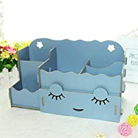 TILLION ファッションスマイリー収納ボックス木製デスクトップ収納ボックス化粧品収納ボックス新しいリスト (Color : Blue, Size : M)