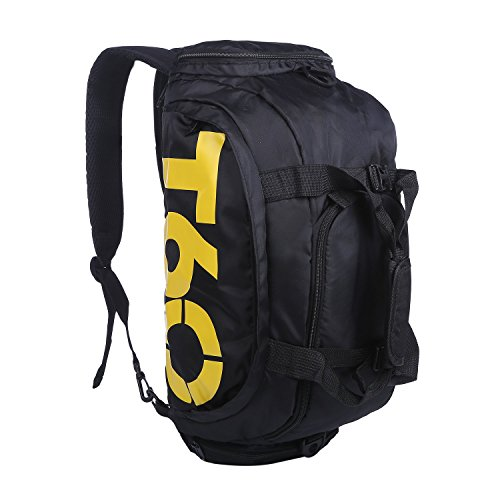 (コズーン)KO ZOON H2 スポーツ バッグ メンズ レディース 大容量 3way リュック ショルダーバッグ ボストンバッグ シューズ 収納 T60 (黒黄)