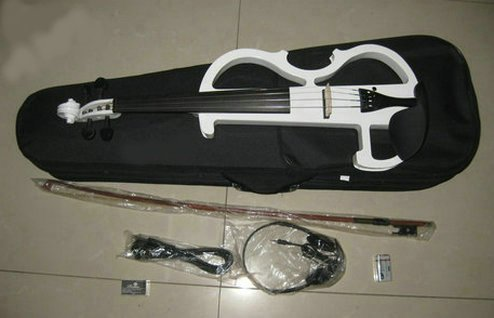 COM★MI-SAIBAN-白◆初心者の方も気軽に演奏♪ サイレント バイオリン 大幅に音エネルギーを低減 !!! ヘッドフォンで演奏を聴ける