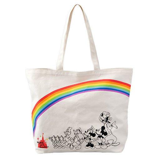 レインボー モチーフ トートバッグ バッグ 鞄 かばん バック ディズニー カラフル 虹 ミッキー ミニー ドナルド デイジー 他 ( リゾート限定 )