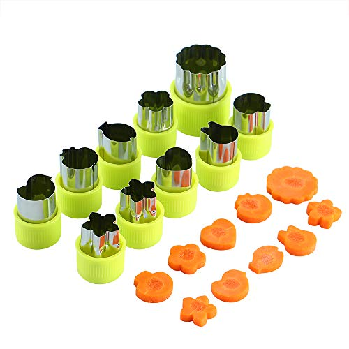 SurgeHai クッキー型 DIY弁当箱キッズキャンディー成形野菜と果物かわいい動物フィッシュスターバニー10個セット(グリーン) 保護キャップ付き 傷防止