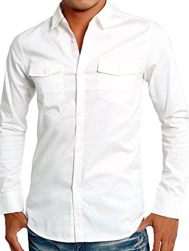 インプローブス シャツ ストレッチ ツイル スリムシャツ メンズ ホワイト Sサイズ