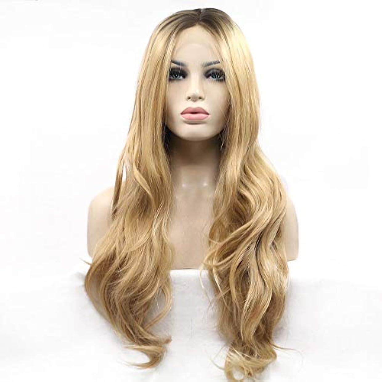 要件呼ぶ凍るヘアピース 女性のヨーロッパとアメリカの自然なかつら髪セットイエロー-ビッグウェーブ-長い髪