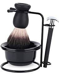 シェービングブラシセット ホルダー 剃刀 カミソリ プレゼント 洗顔 髭剃り 柔らかい毛 泡立ち メンズ