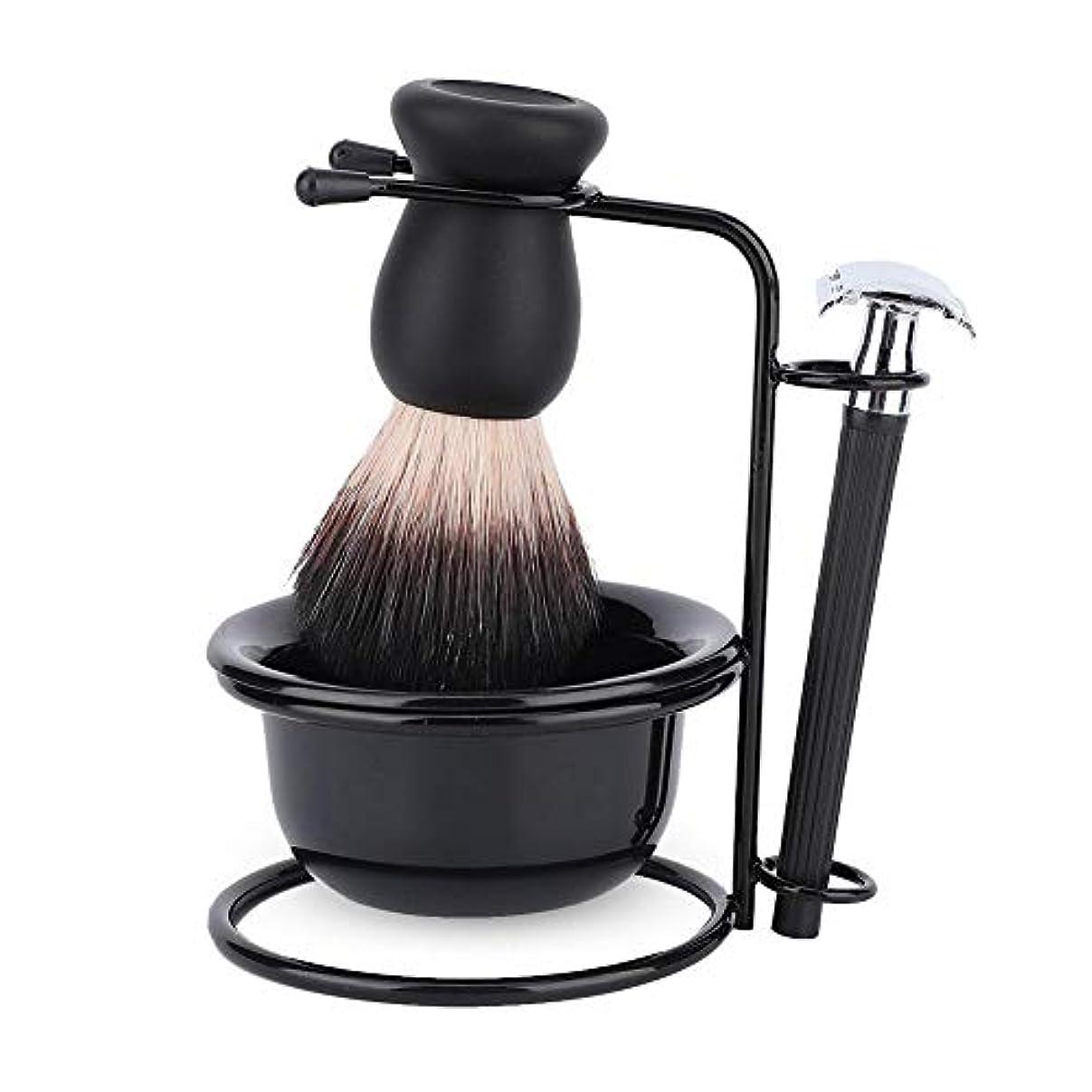 疲労メイエラ静けさシェービングブラシセット ホルダー 剃刀 カミソリ プレゼント 洗顔 髭剃り 柔らかい毛 泡立ち メンズ