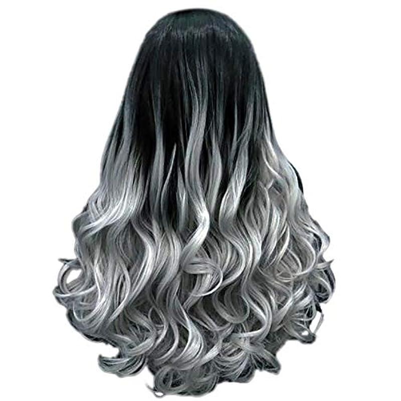 窓ポーチサーバント女性の長い巻き毛のファッションセクシーなかつら70 cmをかつら