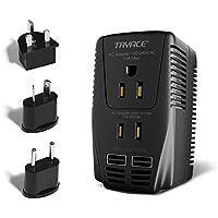 TRYACE 海外旅行用変圧器 2000Wハイパワー220V to 110V±10%変換 UK/AU/US/EU変換プラグ付き変圧器+2つのUSBポート 対応ドライヤー ストレート カール ヘアアイロン