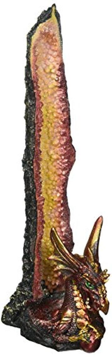 かろうじて送信するやろうDragon Incense Holder, Poly Resin Incense Burner Stick Holder - Orange Statue
