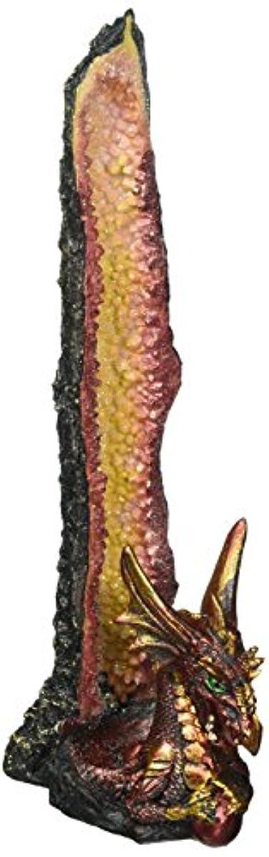 線裂け目先例Dragon Incense Holder, Poly Resin Incense Burner Stick Holder - Orange Statue